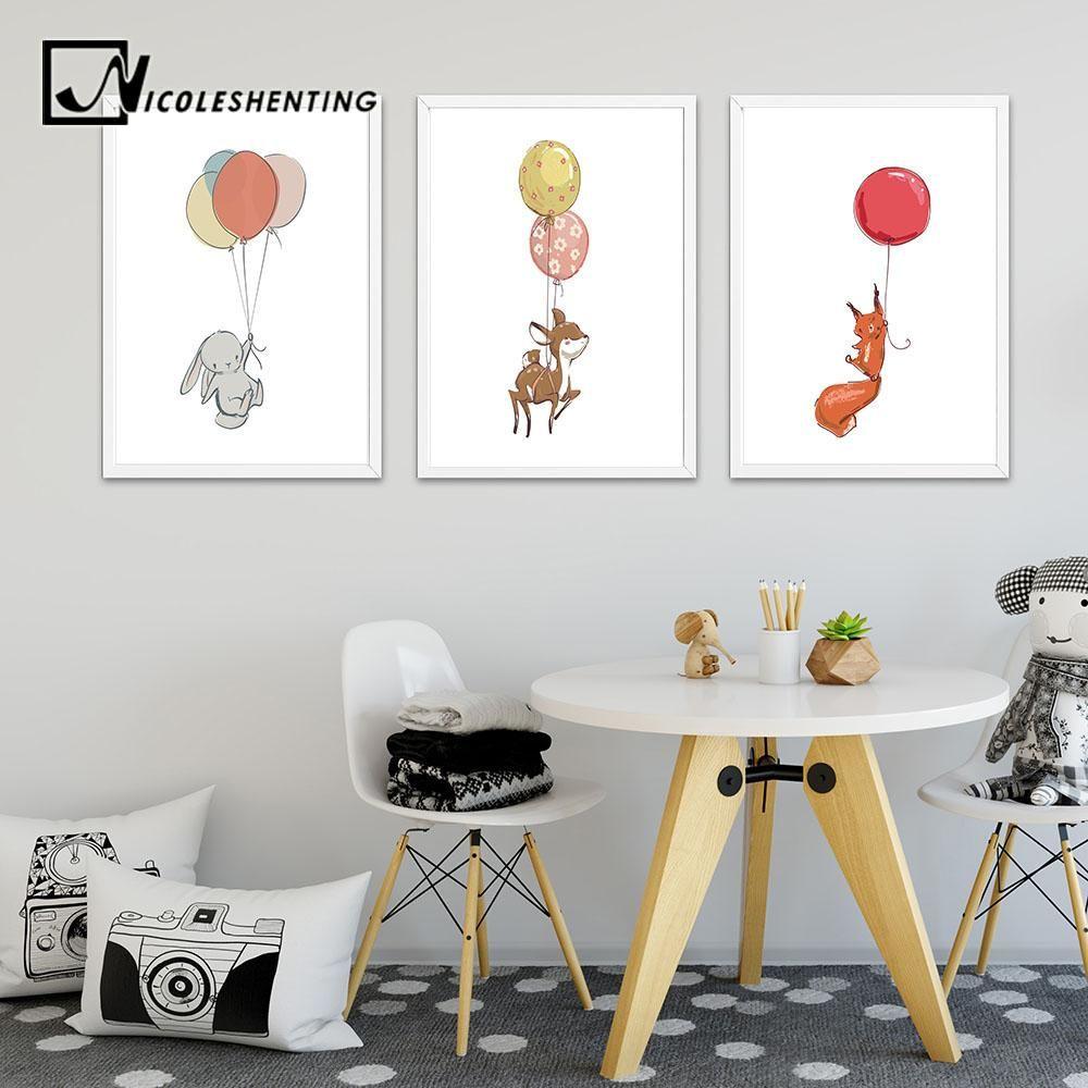 Rabbit Canvas Wall Art Poster Animal Print Painting Baby Nursery Room 30x42cm