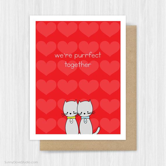 Cute Cat Valentine Card Love Pun Valentines Day Cards By Sunny Dove Studio  #handmade #