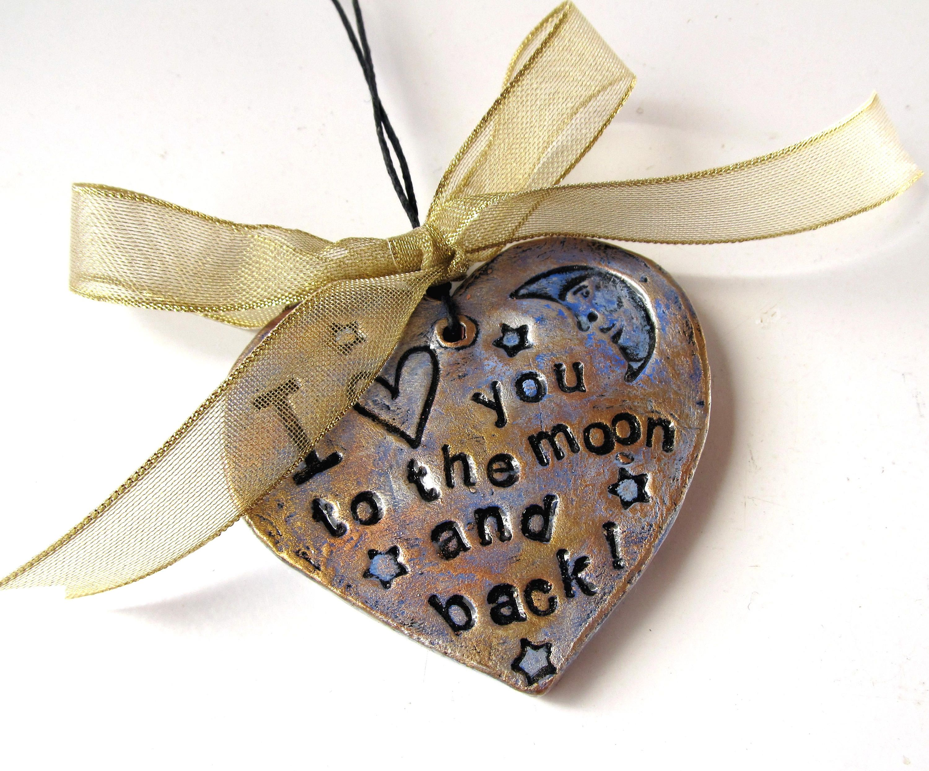 Christmas Ornament I Love You To The Moon And Back Heart