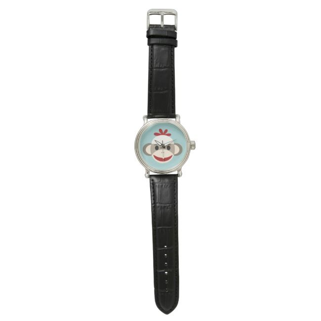 Sock Monkey Vintage Black Leather Strap Watch | Zazzle.com #sockmoneky