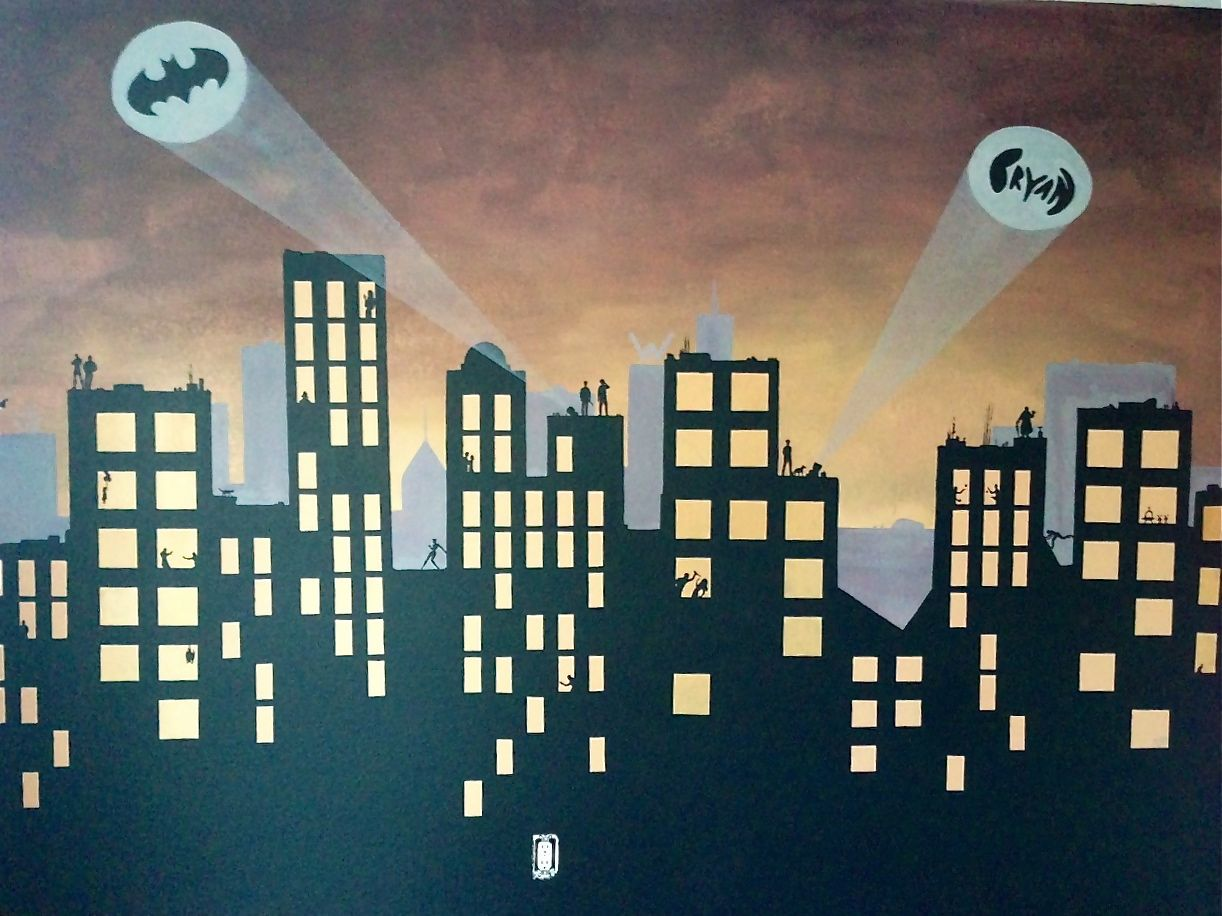Batman Gotham City Mural For Bryan Superhero City Batman Room Superhero Room