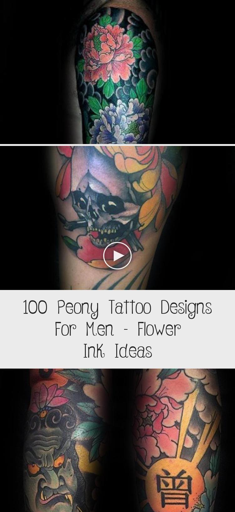 100 Peony Tattoo Designs For Men: 100 Conceptions De Tatouage De Pivoine Pour Hommes