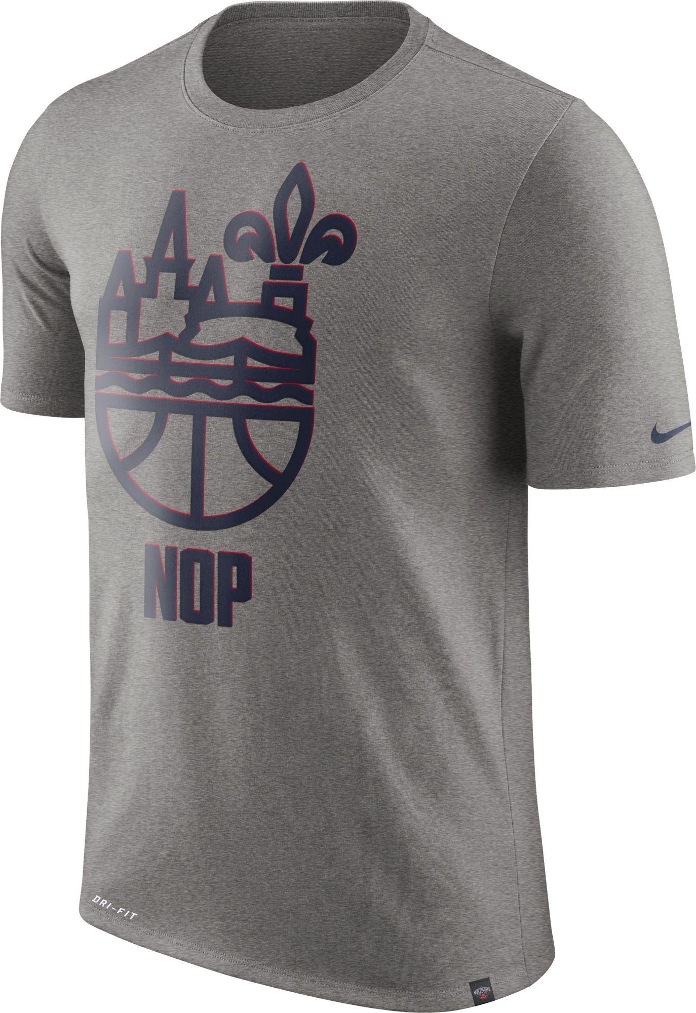 25767076 Nike Men's New Orleans Pelicans Dri-FIT Grey Cityscape T-Shirt, Size: XXL,  Team