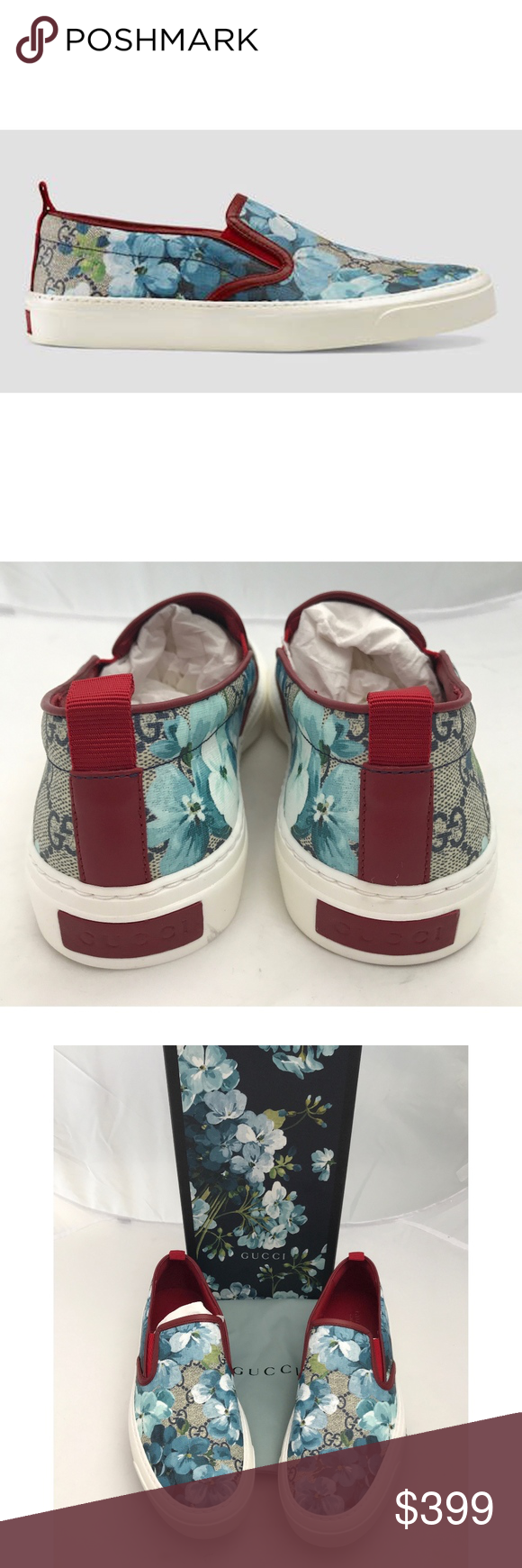 bca1f8a7f New Gucci Bloom GG Sneakers Canvas Blue SZ 40 Authentic Gucci Bloom Sneakers  New with box and dust bag GG supreme canvas with blue floral print Slip on  ...