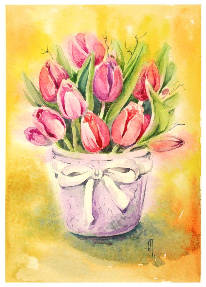 Тюльпаны рисунок акварелью фото