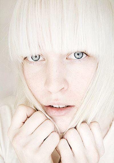 pale skin, blunt bangs, platinum blonde hair, big blue eyes