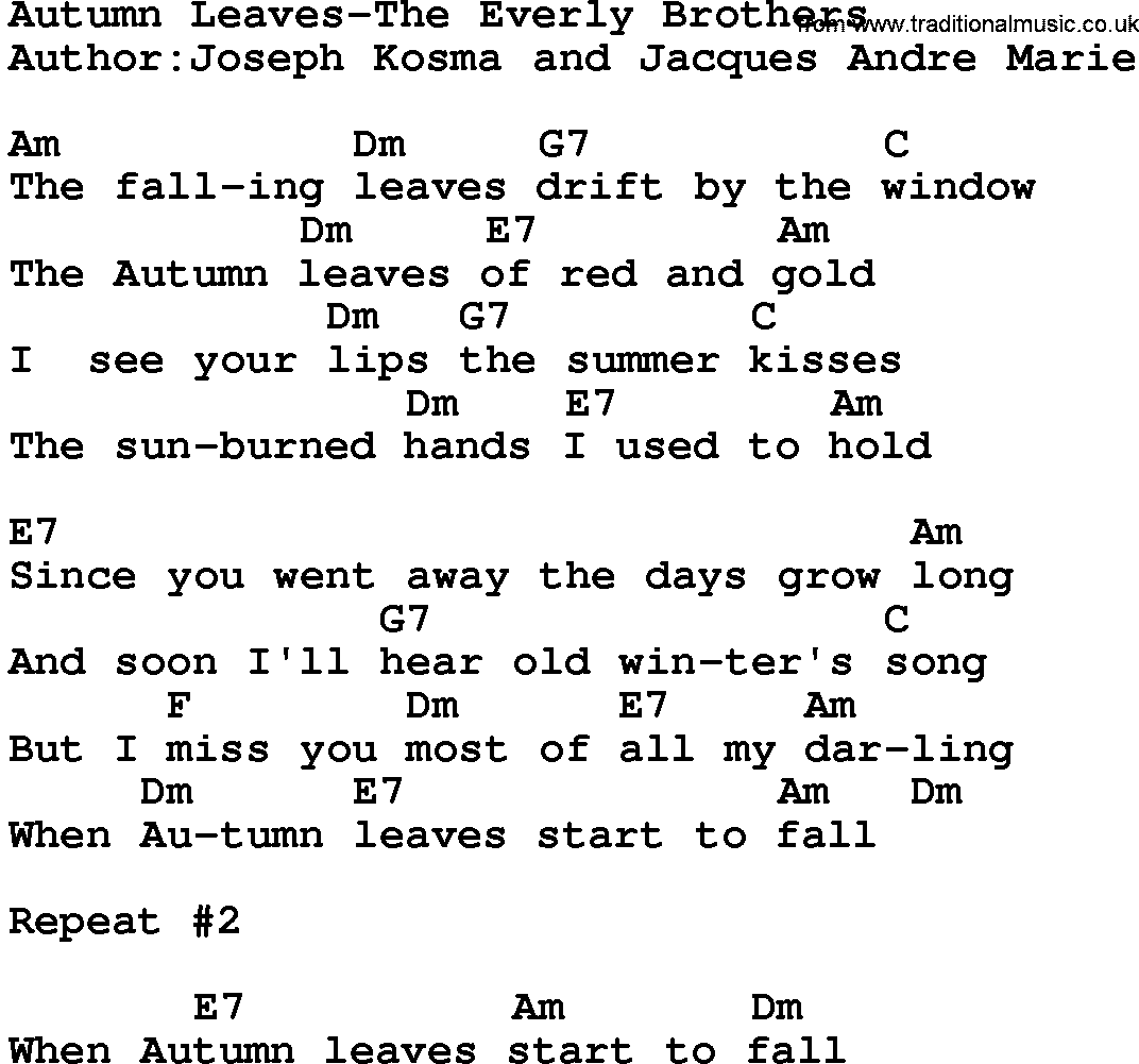Country Music Song Autumn Leaves The Everly Brothers Lyrics And