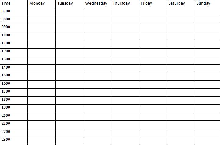 printable weekly calendar with time slots