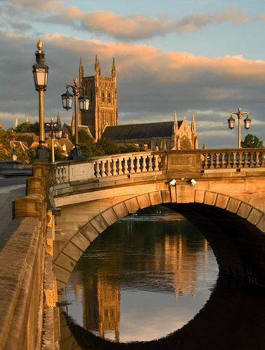 Icons of Worcester, The Severn River The Bridge, and The Cathedral by Flash of Light. Worcester Cathedral was built between 1084 and 1504