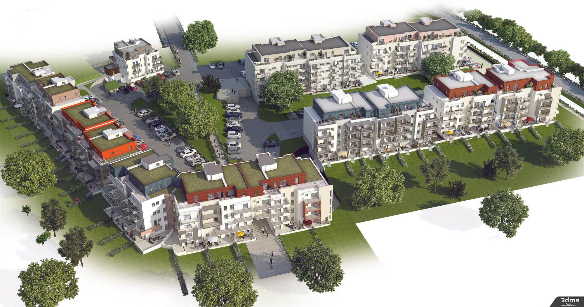 Illustration 3D de projet immobilier dans son ensemble en vue ...