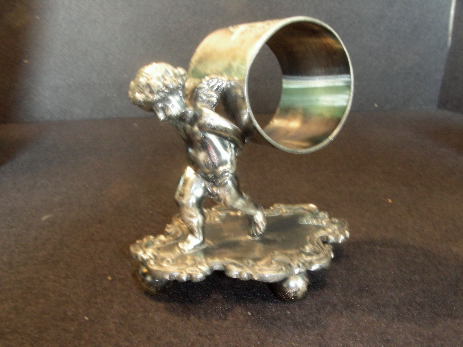 Antique Victorian Silver Figural Napkin Ring Walking Cherub. Barbour Quadruple Plate by SixOfTwelveAntiques on Etsy
