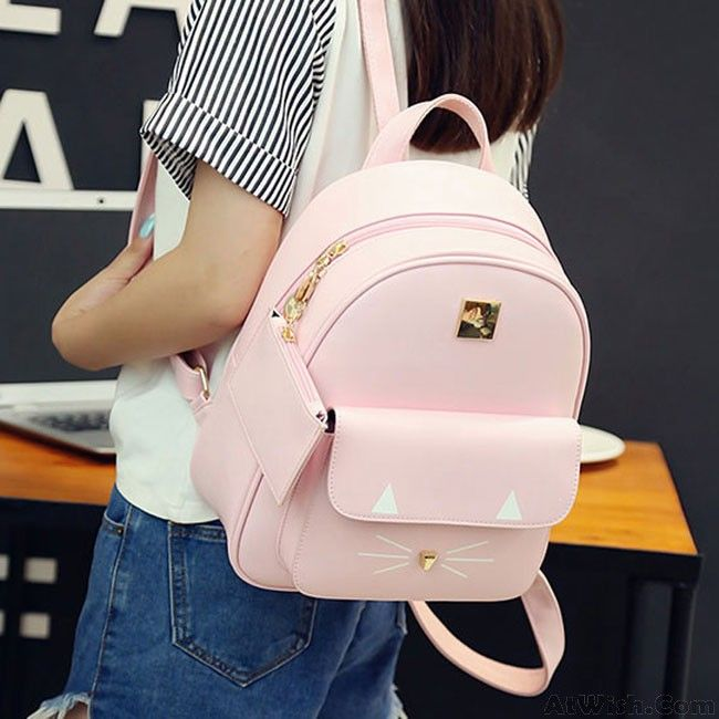 wow awesome cartoon cat rucksack cute kitten solid schoolbag student backpack
