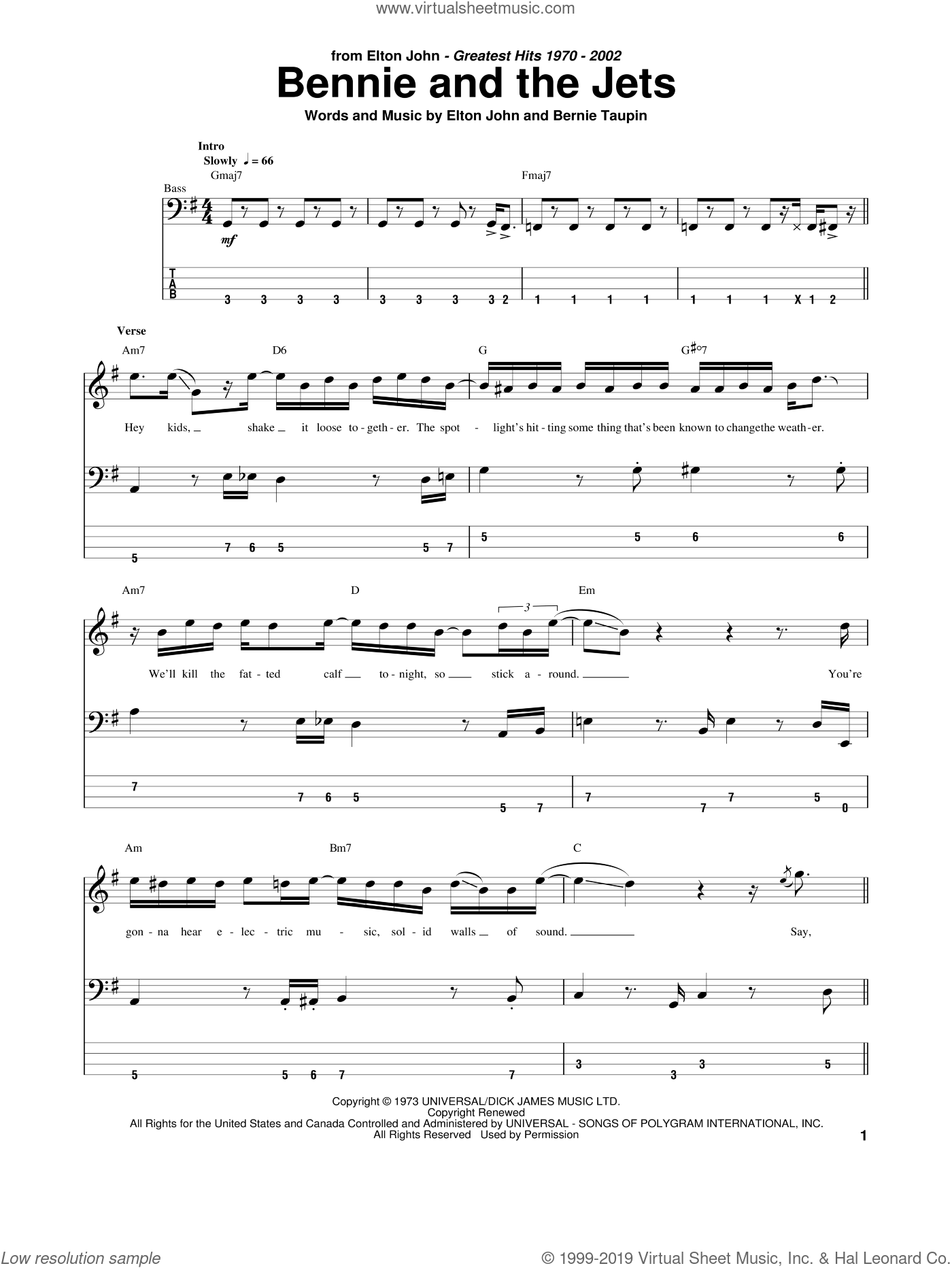 John   Bennie And The Jets sheet music for bass tablature bass ...