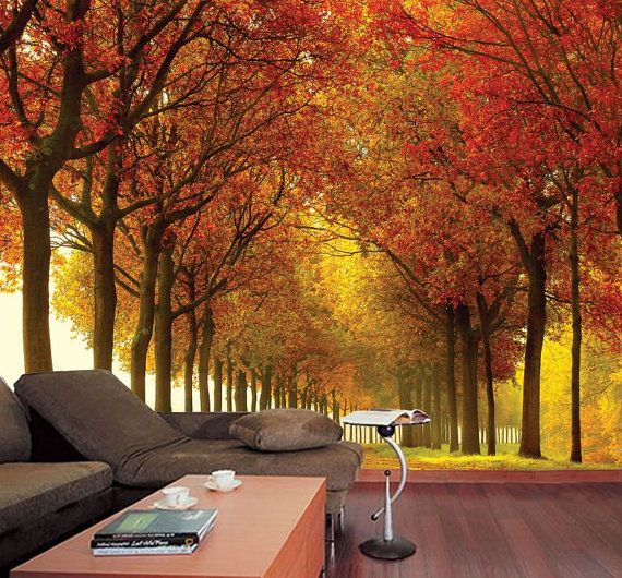 Autumn colors wall mural Prepasted Washable and dry by StyleAwall