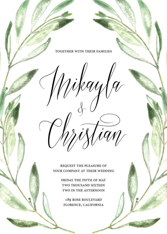 e6dafe98acc0 Printable Wedding Invitation - Watercolor Olive Branches - Greenery - Olive  Branch Frame - Floral -