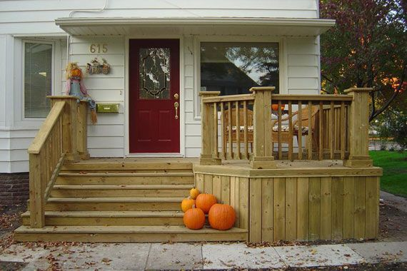 Custom Front Deck With A Sitting Area Small Front Porches