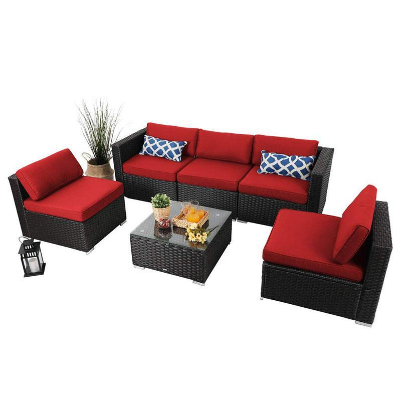 Phi Villa Patio Sectional With Cushions Rattan Outdoor Sectional Set 6 Piece Red Cushions On Sofa Outdoor Furniture Sets Sofa Set