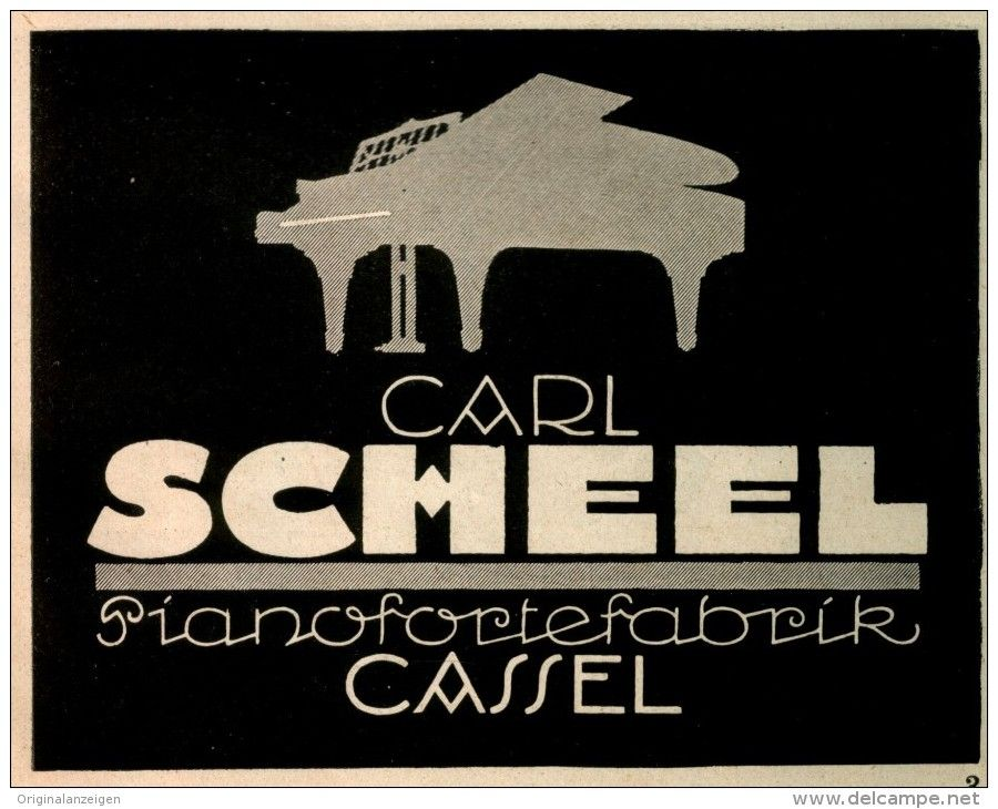 Original-Werbung/ Anzeige 1924 - CARL SCHEEL PIANOFORTEFABRIK CASSEL - ca. 140 x 110 mm