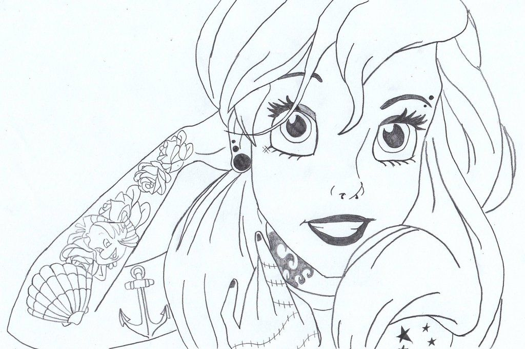 Punk Ariel By Lasconi On Deviantart Disney Coloring Pages Mermaid Drawings Easy Mermaid Drawing