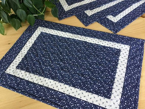 Blue Quilted Placemats Set Of 4 Handmade Navy Fl