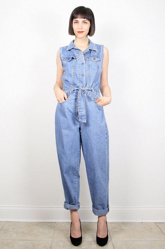 e427213f034 Vintage Denim Jumpsuit Blue Jean Jumper 1990s by ShopTwitchVintage  vintage   etsy  90s  1990s  denim  jumpsuit  overalls  pants  jeans  grunge