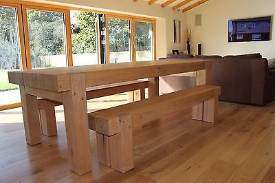 Details About Oak Sleeper Beam Dining Table And Benches Solid
