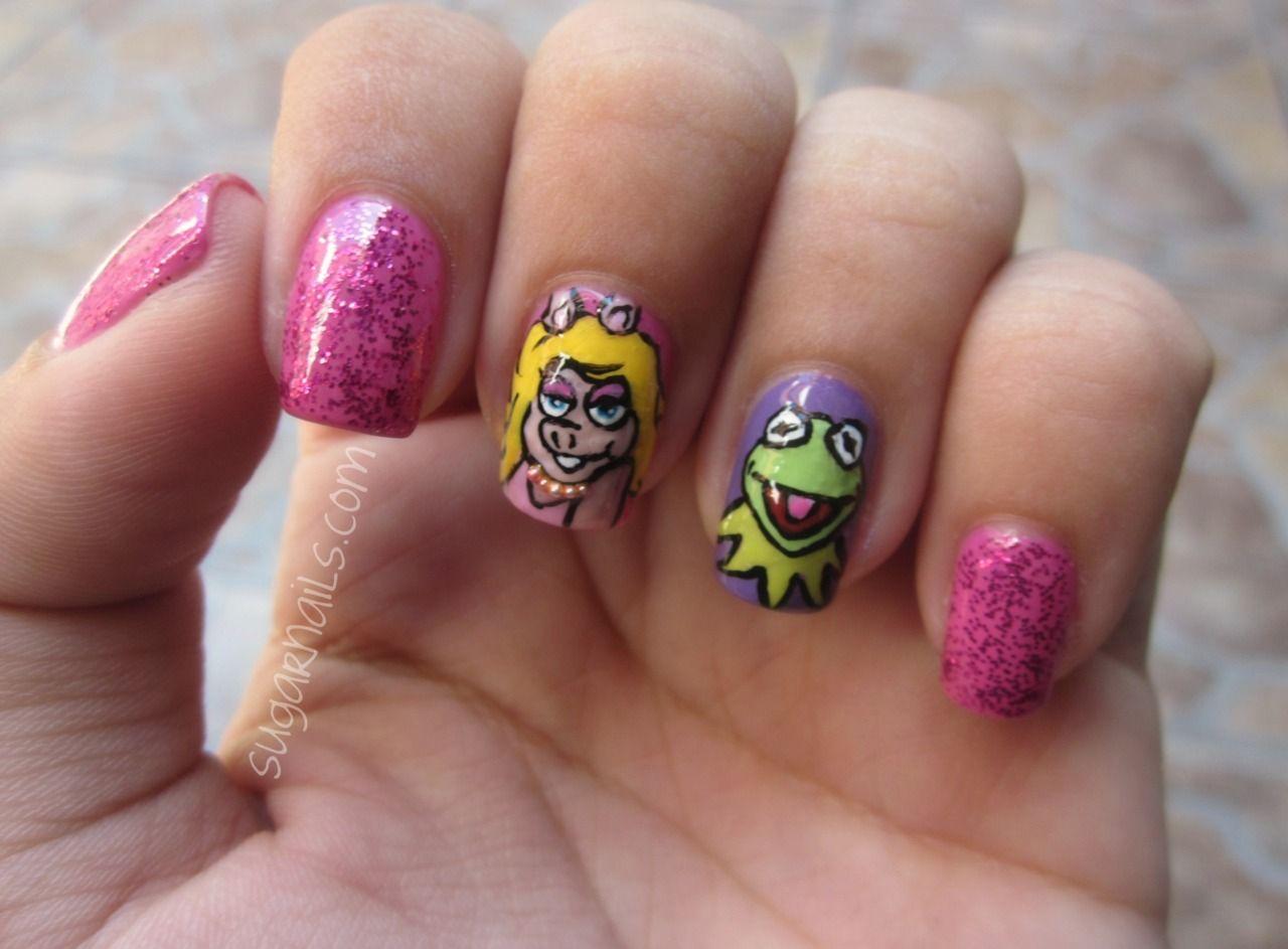 Miss Piggy and Kermit nail art. | Sugarnails | Pinterest | Kermit ...