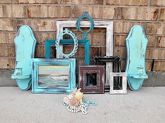 vintage upcycled beachy worn turquoise home decor picture frame wall sconce collection oil painting chic
