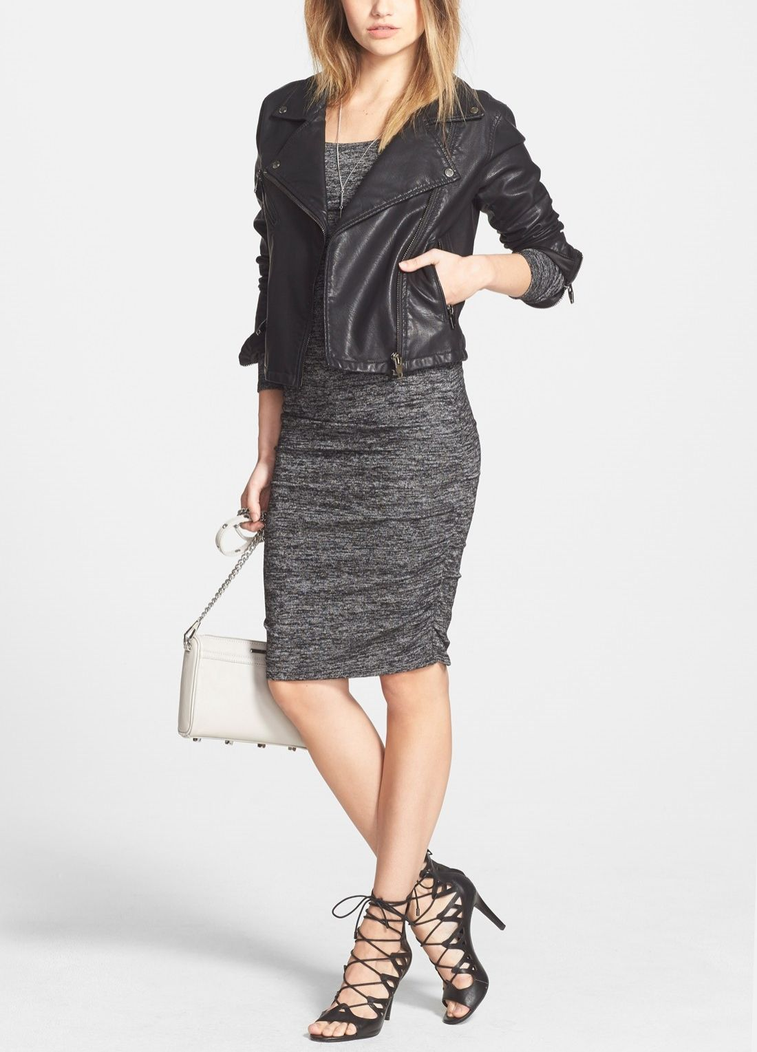 Obsessing over this black leather jacket paired with a grey heathered dress for a city chic look.