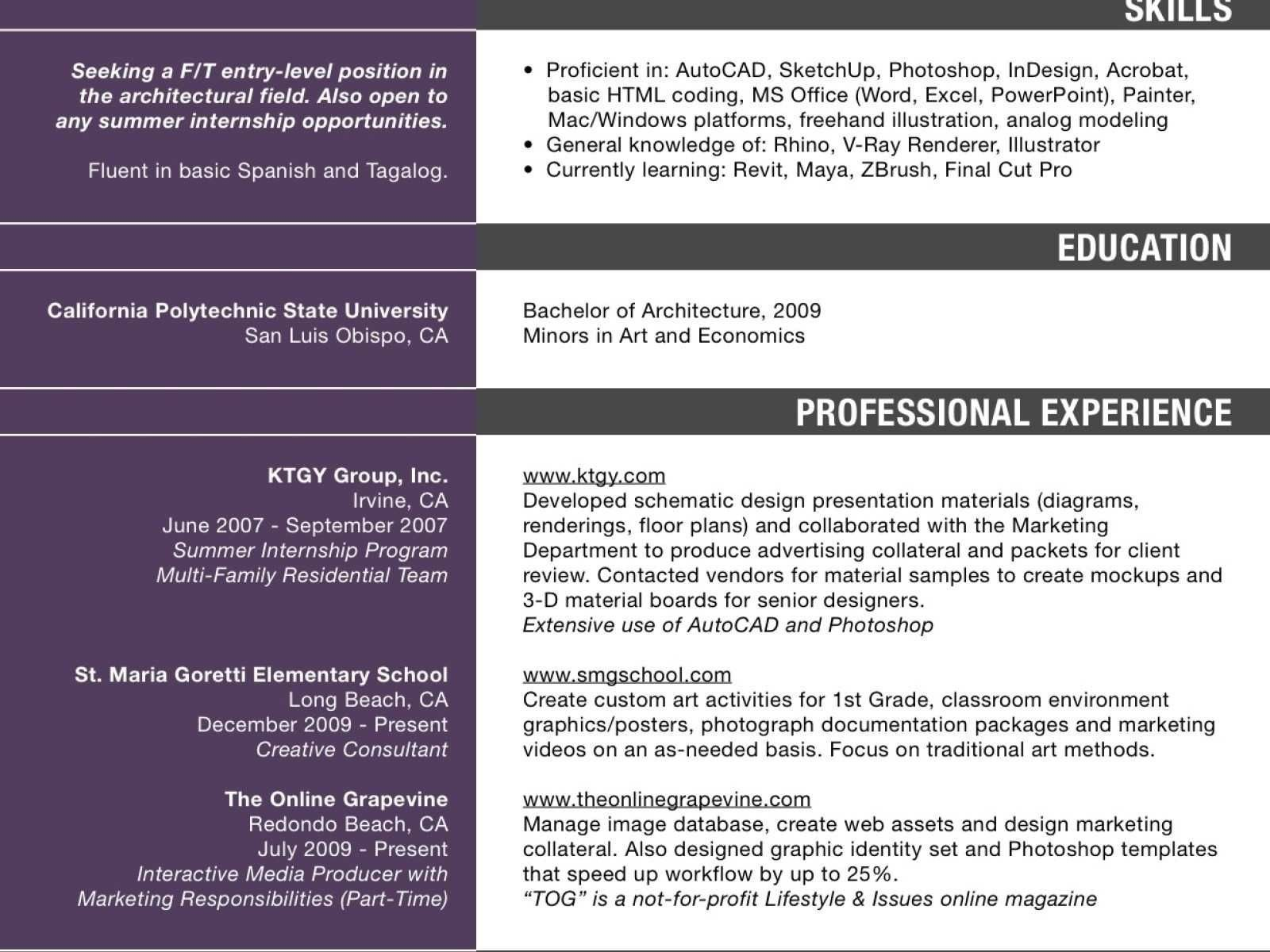 One page resume template with background pattern in four