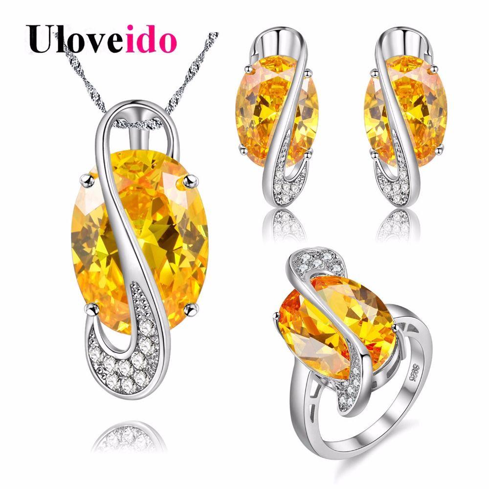 Uloveido silver color wedding jewelry set rhinestone jewelry sets