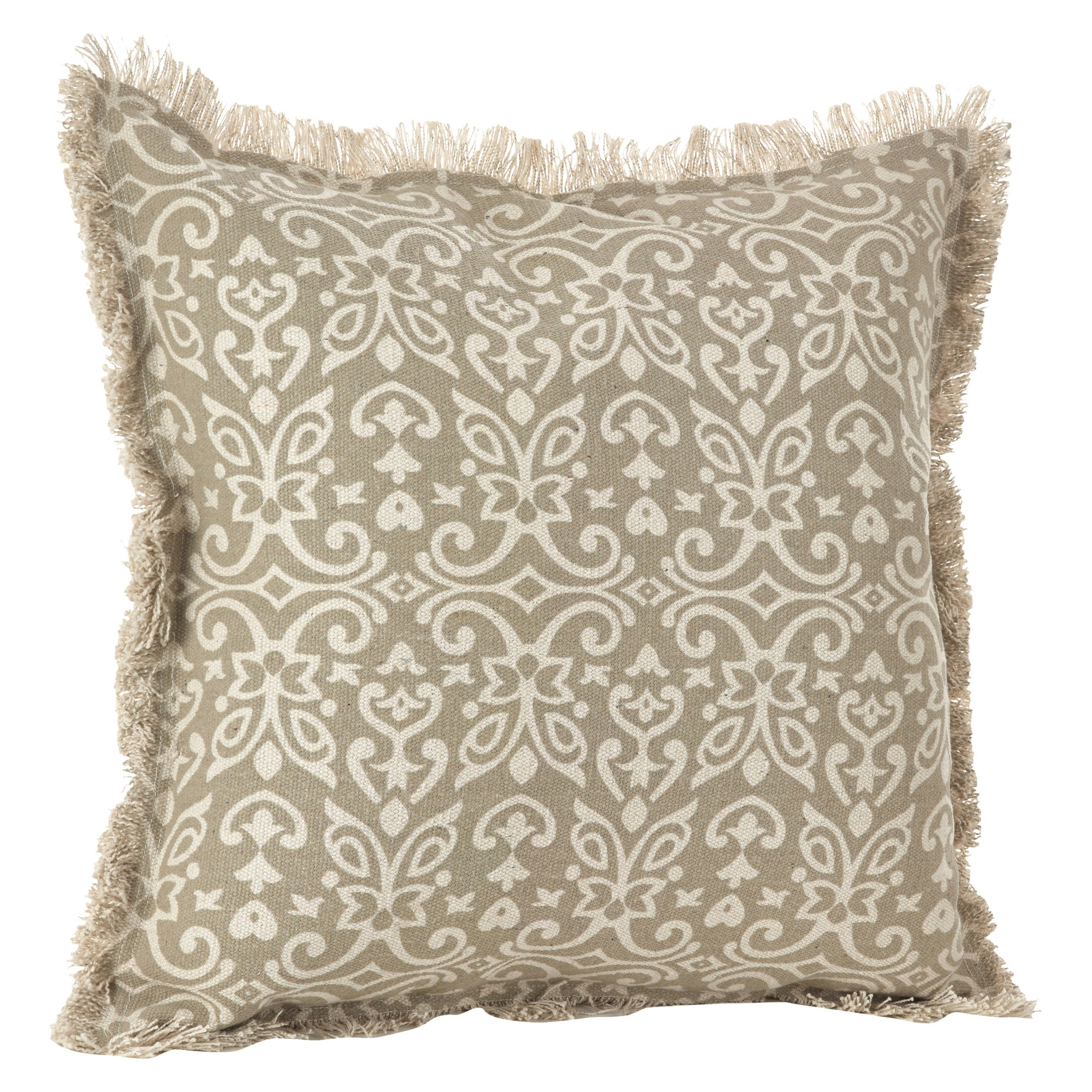 The Pillow Collection Natashaly Damask Linen Down Filled Throw Pillow