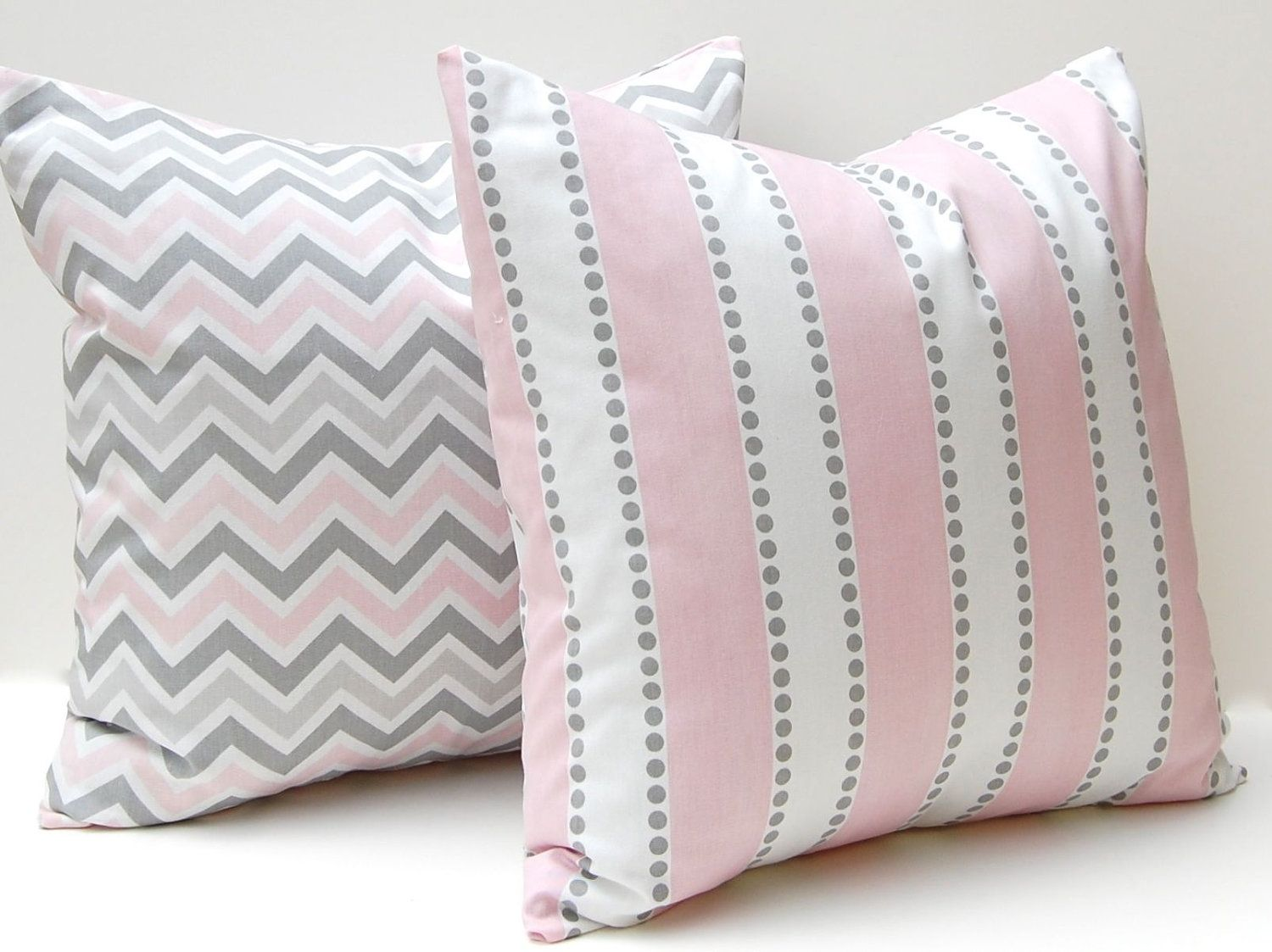 Pink And Grey Decorative Pillows : Chevron Pillow Decorative Throw Pillow Covers Baby Girl Nursery 18 x 18 Pink and Gray Chevron ...