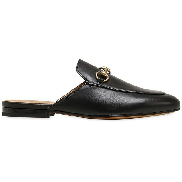 9ec9b3a28 Gucci Women 10mm Princetown Horse Bit Leather Mules (3,715 CNY) ❤ liked on Polyvore  featuring shoes, black, leather sole shoes, leather shoes, mule shoes, ...