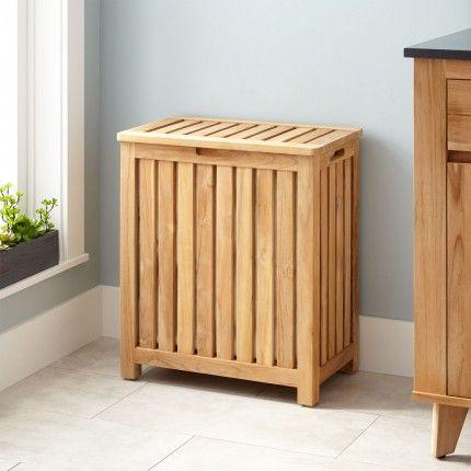 Cael Teak Laundry Hamper Laundry Hamper Wooden Laundry Basket