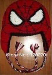 gratis verzending detailhandel haakpatroon cartoon spin- man baby peuter hoofddeksels baby jongens meisjes handgemaakte gebreide katoenen garen hoed(China (Mainland))