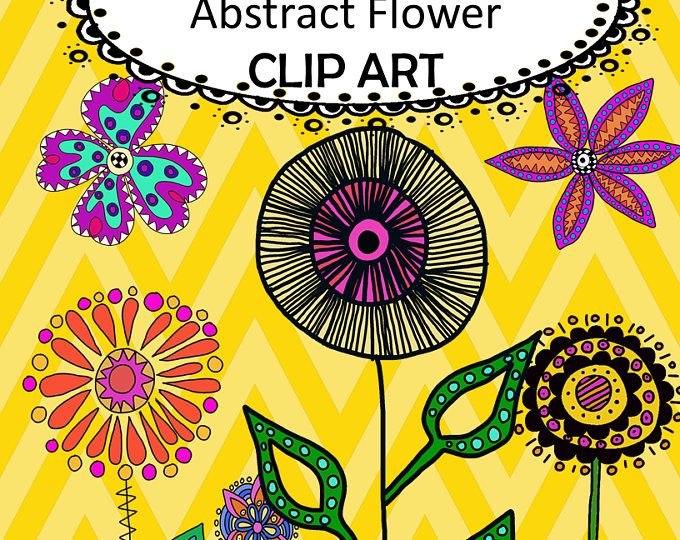 Hand Drawn Doodle Abstract Flower Clip Art PNG Graphics