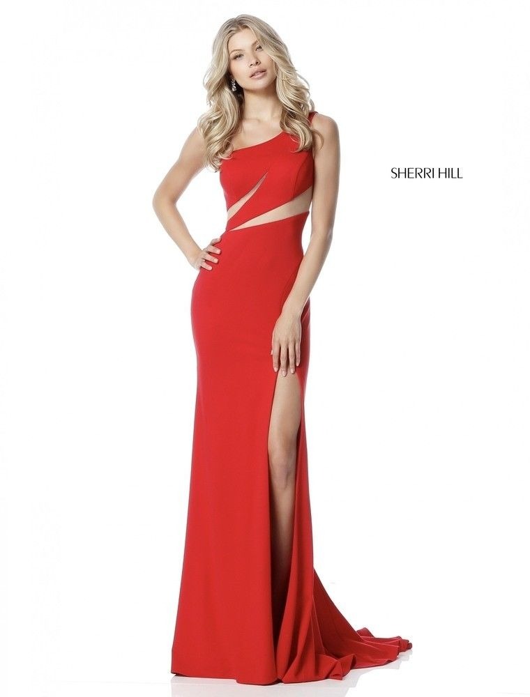4a5d2e29eb Sherri Hill 51570 is a striking fitted jersey gown with a one-shoulder  bodice