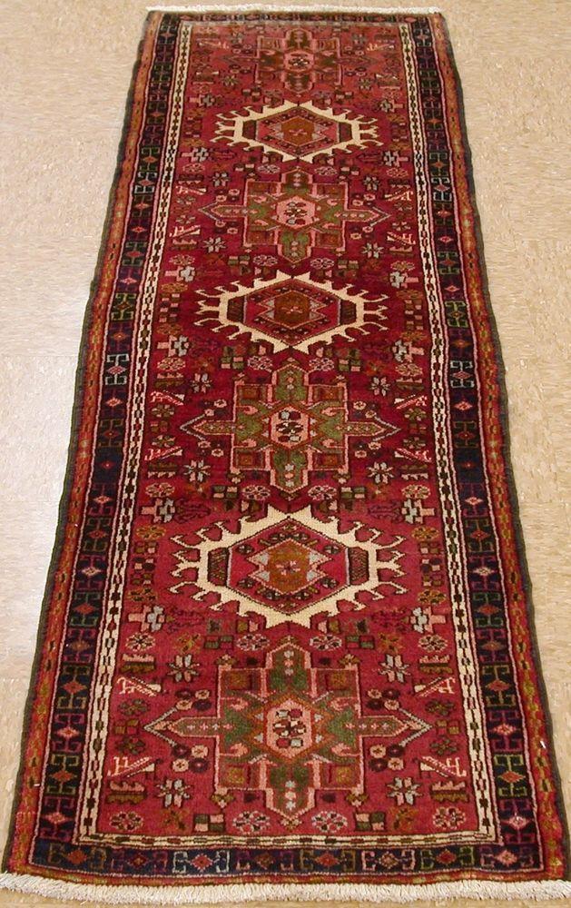 2 X 7 Persian Karajeh Tribal Hand Knotted Wool Red Navy Oriental Rug Runner