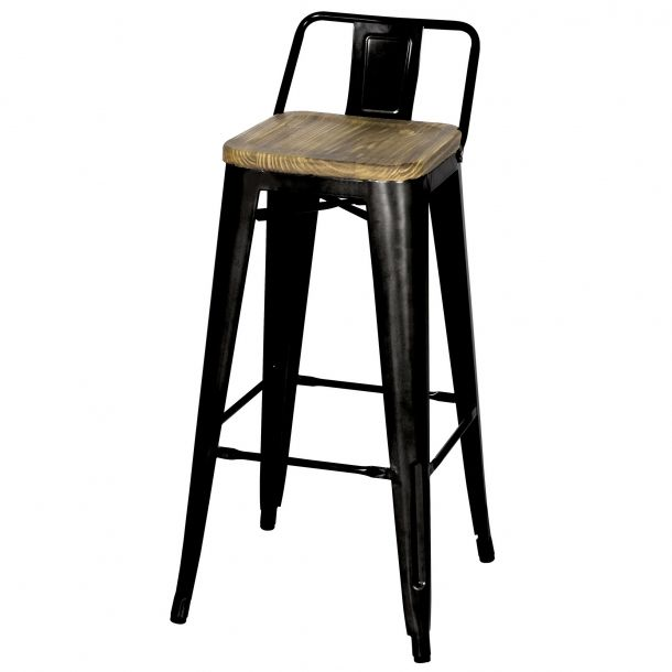 Tolix Low Back Bar Stool Wood Seat Black Memoky Com Bar