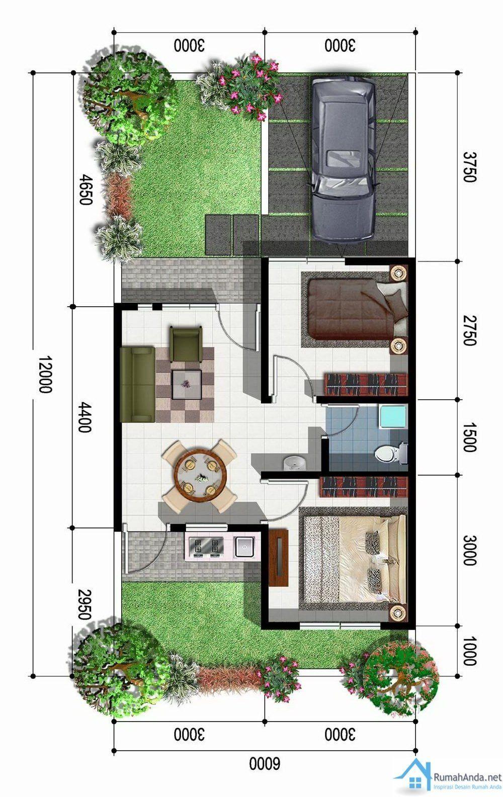 denah rumah ukuran 5x10 1 lantai