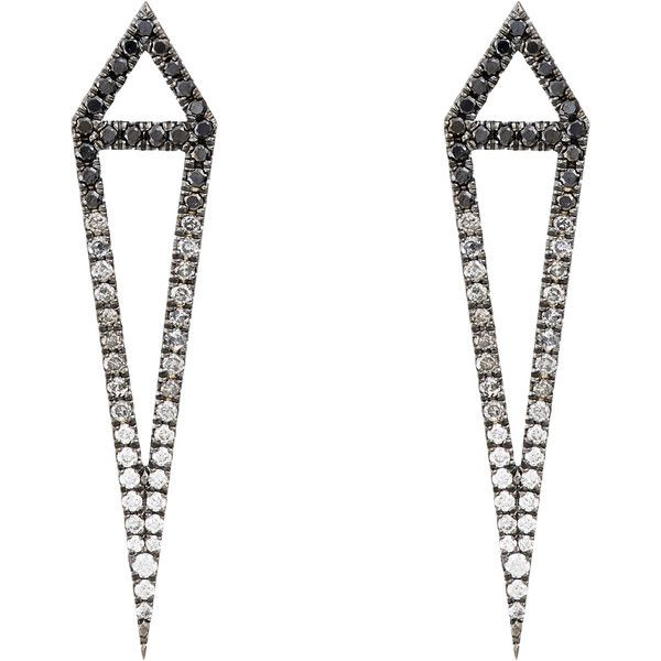 "Eva Fehren Multi Diamond & Blackened White Gold ""Ombre Dagger"" Studs-C found on Polyvore"