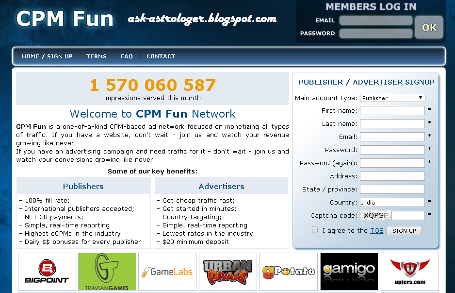 Cpmfun Cpm Fun Ad Network Cpm Rates And Review C Pm Fun Is One Of