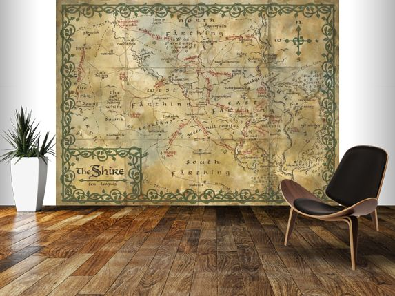 Map of the shire middle earth wall mural the hobbit for Earthrise mural