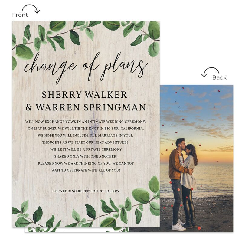 Change Of Plans Intimate Wedding Elopement Personalized Announcement Cards 559 In 2020 Intimate Wedding Elopement Announcement Wedding