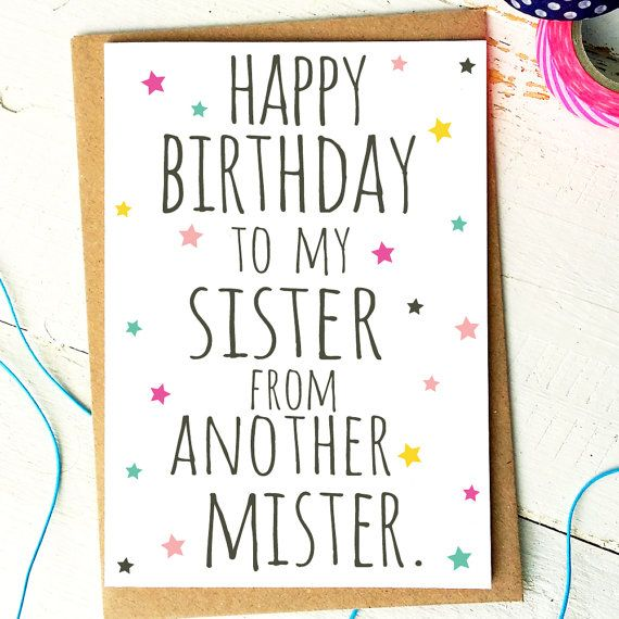 Best Friend Card Funny Birthday Card Sister From Another