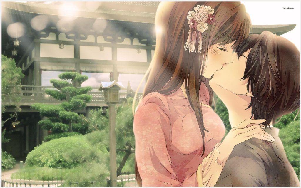 Anime Couple Romantic Kiss Wallpaper