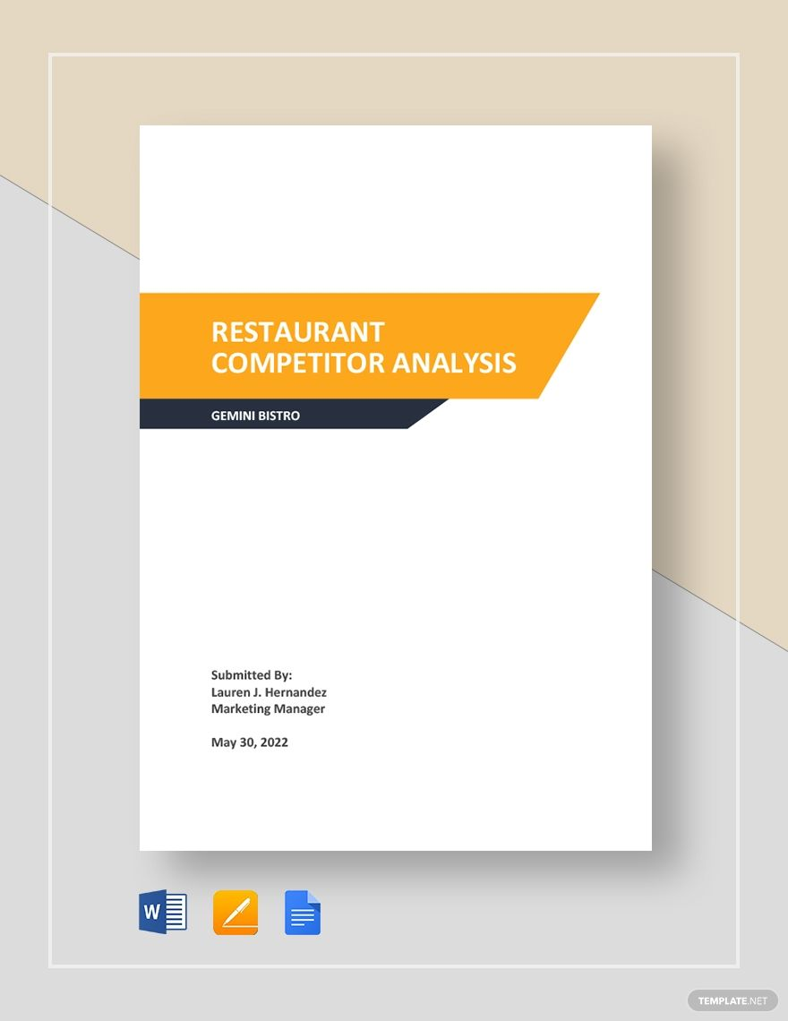 Restaurant Competitor Analysis Template Free Pdf Google Docs Word Template Net Competitor Analysis Swot Analysis Template Analysis