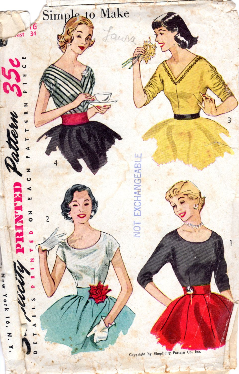 1950s Blouse Pattern with Scoop or V Neck - Vintage Pattern Simplicity 4213 - Bust 34 by ErikawithaK on Etsy