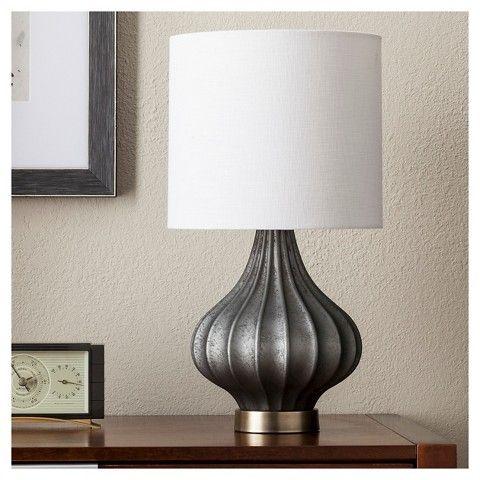 Ridged Glass Gourd Table Lamp Dark Gray Threshold Grey Lamp